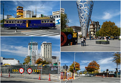 Postcard from Christchurch April 2017 (Jocey K) Tags: newzealand southisland canterbury christchurch cbd architecture buildings cathedralsquare signs sculpture trees autumn tram roadcones demolition people clouds tower road streets streetart mural artwork