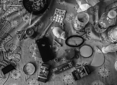 slon (hlvtvxiv) Tags: monochrome elephant weed grinder medication cigarettes youth trash ocb mirrors ashtray friends