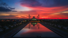 Fire on the Sky (kiatthaworn khorthawornwong) Tags: tambonkhutao changwatsongkhla thailand th dji drone mavicpro combo mosque thai muslim landscapes fire sky cloud sun sunset flickr reflection evening light city architecture fly beautiful travel sunday holiday flickrtravelaward