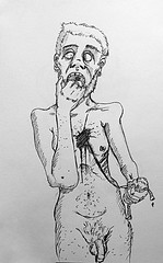 Je n'ai jamais vraiment changé... (ETt_) Tags: ugly horror cartoon anxiety pain old gettingold dead weak hearth drawing sketch ink sad lost