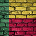 National Flag of Benin on a Brick Wall