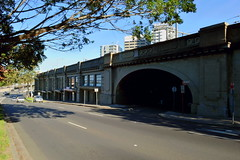 Adjoing the Pacific Highway to the Harbour Bridge tollway at North Sydney NSW late afternoon - Autumn 2017 (2) (4000) (nicephotog) Tags: concrete viaduct overhead bridge railway early20thcentury structure sydney nsw milsons point north road traffic vehicle car lane city intersection