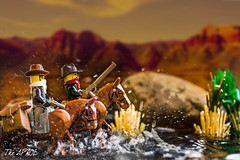 The ecstasy of brick (The Aphol) Tags: lego action legography legophotography toy toyphotography water western horse riding river minifigures bandit shoot energy ride cowboy oldwest wildwest