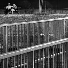 dietro le sbarre (pamo67) Tags: pamo67 behindthebars coppia pair ringhiere railings bw bianconero parco park seduti seated relax passerella catwalk square blackwhite diagonali diagonals pasqualemozzillo