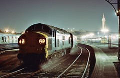 Loco 6788  |  Blackpool UK  |  1973 (keithwilde152) Tags: br class37 blackpool uk 1973 station platforms tracks town tower passenger train diesel locomotives outdoor winter night