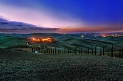 Sunset in Baccoleno (Giulio Mazzini) Tags: sunset sun sky asciano baccoleno street countryside country siena sienna tuscany italy blue light