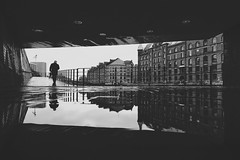 On cold and rainy Sunday (digital_underground) Tags: umbrella rain hamburg speicherstadt pfütze puddle reflection water street urban streetphotography men germany europe weather