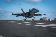 170413-N-VN584-204 (U.S. Pacific Fleet) Tags: usstheodoreroosevelt cvn71 alex corona vn584 underway strikefightersquadron vfa 94 maintenance fa18fhornet mightyshrikers jet landing