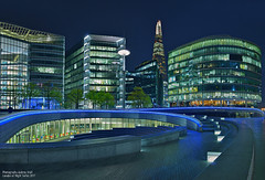 More London Riverside (Aubrey Stoll) Tags: shard london norton rose more riverside south bank city hall the scoop restaurants offices steps windows trees tourism night blue hour england capital finance commerce legal construction urban river thames side