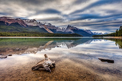 The wild shores of Maligne Lake (PIERRE LECLERC PHOTO) Tags: malignelake alberta jasper jaspernationalpark canada rockies canadianrockies rockymountains glaciers mountains landscape fall autumn wood forest lake reflection water clouds nature wild wilderness hiking greatoutdoors pierreleclercphotography adventure canon5dsr shore shoreline