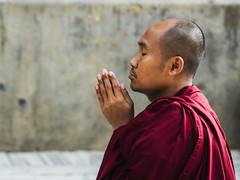 Devoción (Nebelkuss) Tags: india bihar bodhgaia bodhgaya asia monje monk budismo budista buddhism buddhist oración prayer retratos portrait fujixt1 nikon85f20 nikonaisprime