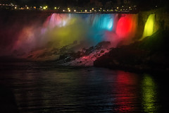 The American Falls @ Night (A Great Capture) Tags: ig agreatcapture agc wwwagreatcapturecom adjm ash2276 ashleylduffus ald mobilejay jamesmitchell on ontario canada canadian photographer northamerica torontoexplore lights urban night dark nighttime niagarafalls niagara americanfalls litup river gorge waterfall falls rainbow colourful colorful rocks mist water reflection