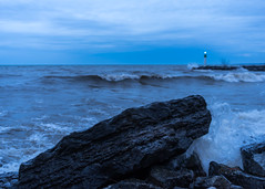 Uncrushable in crushing circumstances (_Matt_T_) Tags: 40creek grimsby smcpfa35mmf20al marker fortycreek dusk blue waves weather lakeontario shore