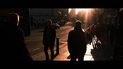 Sunset in Dame Street - Dublin, Ireland - Color street photography (Giuseppe Milo (www.pixael.com)) Tags: streetphotography urban candid ireland street people dublin cinematic city sunset orange light onsale faceless