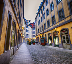 Back Streets of Leipzig, Germany (` Toshio ') Tags: toshio leipzig germany german europe european europeanunion street city cobblestone sidewalk restaurant theater fujixe2 xe2 buildings architecture
