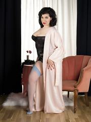 Holly x Gigi #14 (Bruce M Walker) Tags: lingerie vintagelingerie woman dressinggown boudoir nylons lipstick redlipstick curves pinup vintagepinup mediumformat