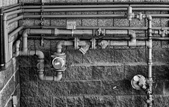 Piped (arbyreed) Tags: arbyreed monochrome bw blackandwhite pipes infrastructure urbandetails gaspipes naturalgas