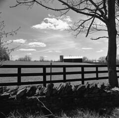 Georgetown Barn View (matthew.vortex) Tags: georgetown scottcounty kentucky barn fence manual sunnyf16 hasselblad500cm distagon504 ilford fp4 yellowfilter rodinal standdevelopment monochrome blackandwhite
