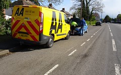 Laid up in a layby (stevenbrandist) Tags: aa fordtransit van stripes yellow blue ford fiesta leicestershire rothley layby lj65xfw cycling commute commuting sunny sunshine