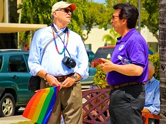 Parade conversation (LarryJay99 ) Tags: dude sexymen urban rainbow two dudes guys goldiearms people profile street mustache florida fashion rainbowflag gaymen gay pits mixedcouple man bluecancaps style prideparade sunshades legs peekingnipples glasses ilobsteritflickr faces beads nipples shorts pridefest men navels armpits gayboyfriends hairy handsome male face attractive mantrails guy rainfly flickr canonefs18135mmf3556is