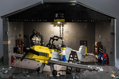 Hangar #2 with BF109 (kr1minal) Tags: lego moc wwii worldwar nazi german soldier luftwaffle bf109 messerschmit brickmania brickarms hangar maintenance service airplane flight fight
