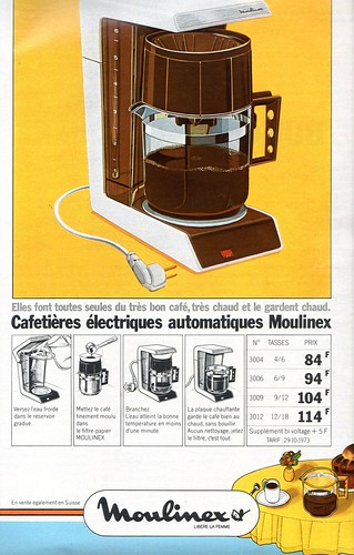 The 1970s-1974 ad for Moulinex coffee machine