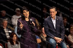 Nikki Haley  Joins Mitt Romney At Town Hall In Charleston (Richard Ellis Photography) Tags: usa sc horizontal election unitedstates political politics southcarolina presidential charleston governor politician candidate inside conservative republican campaign halflength primary morman gop notie teaparty gestures campaigns campaigning bluesuit mittromney nikkihaley