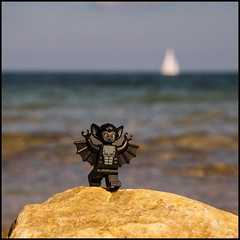 bat (horn blower) Tags: beach toy sailing lego bat balticsea baltic minifigures skelde legominifigures