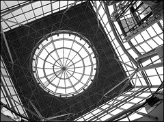 Glass dome (catb -) Tags: ireland bw building glass architecture pattern shoppingcentre ixus londonderry dome derry fa donegal