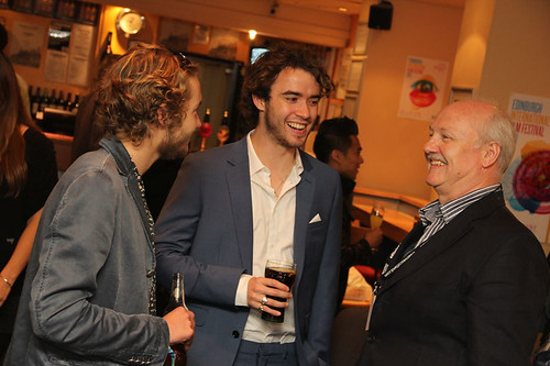 Richard Williams with Toby Regbo and Jamie Blackley at a pre-awards drinks reception