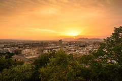 The Golden Glow of a Summer's Day (Jos Garrido) Tags: city trees sunset summer urban night golden spain glow cityscape cloudy tripod aerialview andalucia granada vegetation andalusia vega lightbeams crepuscular