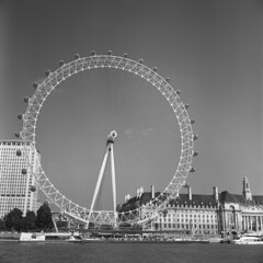 London Eye (David Stumpp |[o]| Photography) Tags: street uk greatbritain light england people bw orange white podcast black london eye 120 6x6 tlr film water monochrome wheel thames rolleiflex zeiss photoshop river square photography daylight focus day ride natural unitedkingdom tmax tx ferris 400tx filter 400 carl epson medium format mf manual grayscale embankment available attraction nationalgeographic planar twinlensreflex humaninterest 75mm kodaktmax homedeveloped fpp creativesuite 35f v500 cs6 photoscanner