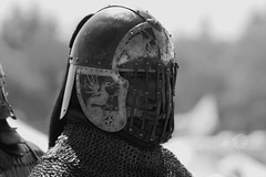Heavy Fighter in B/W (shutterbusterbob) Tags: metal canon washington sca sigma medieval shire combat washingtonstate armour canoneos helm skagitvalley skagitcounty antir sedrowoolley heavycombat julycoronation rebelxti heavyfighter midhaven armouredcombat