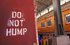 Do Not Hump (See El Photo) Tags: california ca railroad windows red 15fav favorite color colour sexy sign yellow cali metal yard train warning canon naughty fun eos rebel words funny colorful colore beware joke letters railway dirty pole caution signage laugh rails inside burbank haha fav traveltown couleur nasty funnysign hump trainyard donot redish faved 500d dirtymind t1i