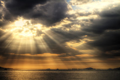 Crepuscular (Notkalvin) Tags: ocean barcelona sunset sun reflection beach southamerica nature water evening coast venezuela shore caribbean rays shipping crepuscularrays crepuscular puertolacruz oiltankers containerships mikekline michaelkline visitingmymom notkalvin notkalvinphotography