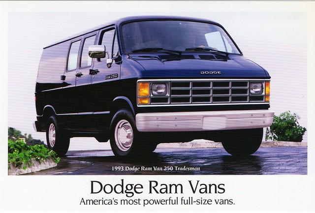 truck postcard 1993 dodge van ram 250 tradesman