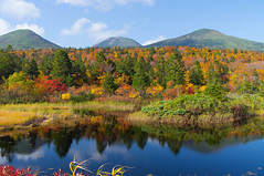 Hakkda Mountains (jyunbo) Tags: autumn red sky mountain mountains reflection green leaves yellow japan landscape leaf pond aomori hakkda gettyimagesjapan13q4