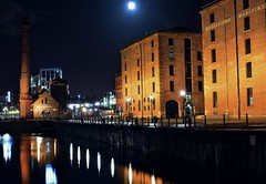 An Albert Classic (alun.disley@ntlworld.com) Tags: light sky tourism water museum architecture night liverpool docks buildings reflections outdoors waterfront moonlight albertdock attraction waterways openspaces nikond7100 3peaker