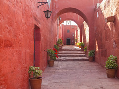 arch design of Monastery of Santa Catalina (nakthon) Tags: santa door old pink blue red orange white flower building history peru church window colors saint sign architecture buildings religious temple catalina spain san colorful bell interior religion colonial azure indigo tunnel chapel row nun medieval historic christian spanish belfry monastery catherine destination blocks lantern archer convent arequipa medioeval