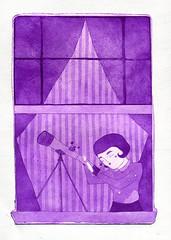 voyeur ii (janeherkenhoff) Tags: window girl etching telescope aquatint aquafortis