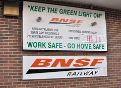 BNSF RAILWAY SAFETY BOARD KEEP THE GREEN LIGHT ON YARD OFFICE FT MADISON,IOWA 9-20-13 FRIDAY (penn central 74) Tags: bnsf burlingtonnorthernsantafe ftmadisoniowa bnsfrailway 92013 safetyboard keepthegreenlighton worksafegohomesafe