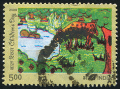 India 0515 m (roook76) Tags: old wild india nature animal vintage fur mammal ancient stag message mail head antique wildlife postcard tail horns ears historic retro stamp deer antlers cover seal envelope letter environment aged wilderness 2009 postage postmark antler philately