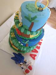 4 Tier Topsy Turvy Sonic The Hedgehog Birthday Cake (SweetToothDesserts (Carsedra)) Tags: strawberry chocolate vanilla topsyturvy sonicthehedgehog 4tier butterceam