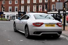 Rear view of 672 ADU, a Maserati Gran Turismo, in Carlisle. (Raymondo166) Tags: auto look station photo looking view near citadel rear engine plate gran turismo reg carlisle coupe v8 maserati 4244cc 672adu