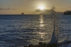 Droit comme un I (Pop626262 (Fort occupé)) Tags: freedom antilles mer coucher soleil martinique sainteluce vague rocher diamant