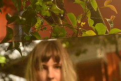 2 - greenshot (Leticia Manosso) Tags: camera selfie mirrow garden sunny leaves blonde hair short fringe girl woman brazil intimate