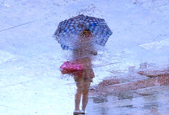 dissolved memories (poludziber1) Tags: city colorful cityscape color colorfull china street summer streetphotography people rain blue umbrella urban water pink