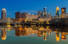 Reflections (Mike Plucker) Tags: minneapolis reflections bluehour mississippi river