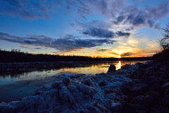 Sunset over the icy river (drafiei1) Tags: northsaskatchewanriver river sunset colors colours colorful ice sky wide ultrawide nikon1424 night nikon cloud clouds