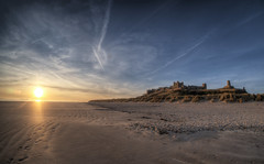 Bamburgh Castle at dawn - Wide (neilalderney123) Tags: ©2017neilhoward bamburgg castle samyang fishie fisheye beach northumbria northumberland sunrise sunset dawn olympus landscape